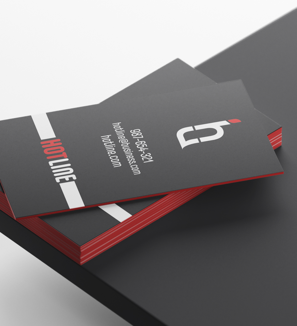 A black, red, and white business card design for Hotline