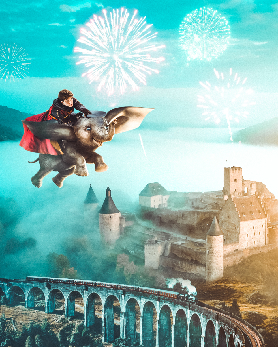 Harry Potter flying on Dumbo the elephant in a fantasy Photo Manipulation