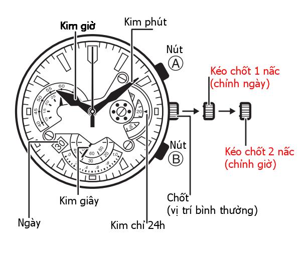 3 nút chức năng của đồng hồ Casio 6 kim