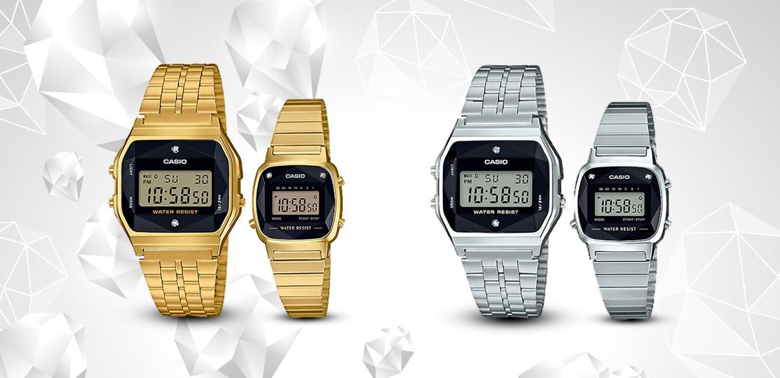 Đồng hồ điện tử được đính kim cương