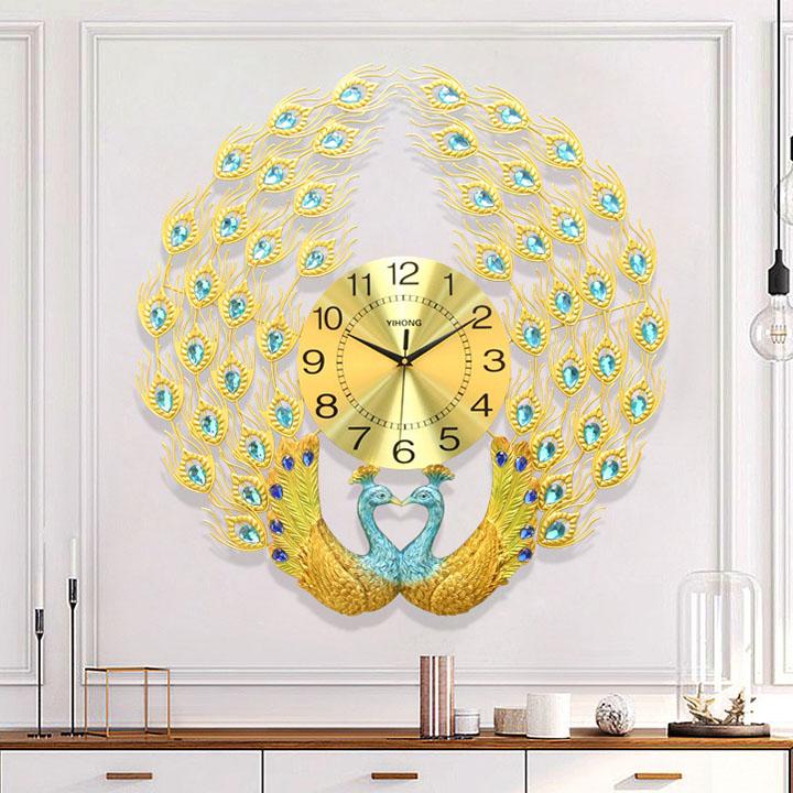 Đồng hồ treo tường hình đôi con công 3D