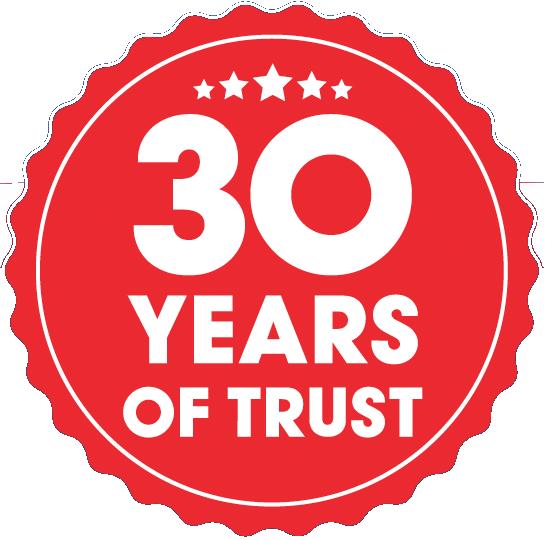 30 Years of Trust badge