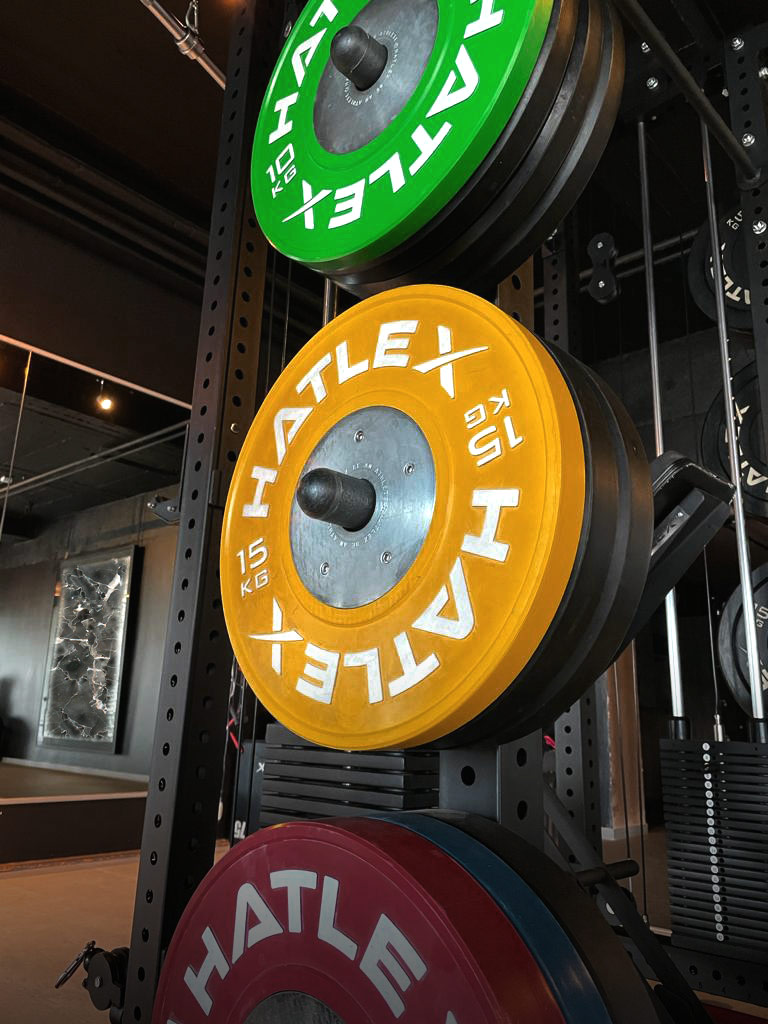 Gym in Zurich with different weights hanging on a vertical platform