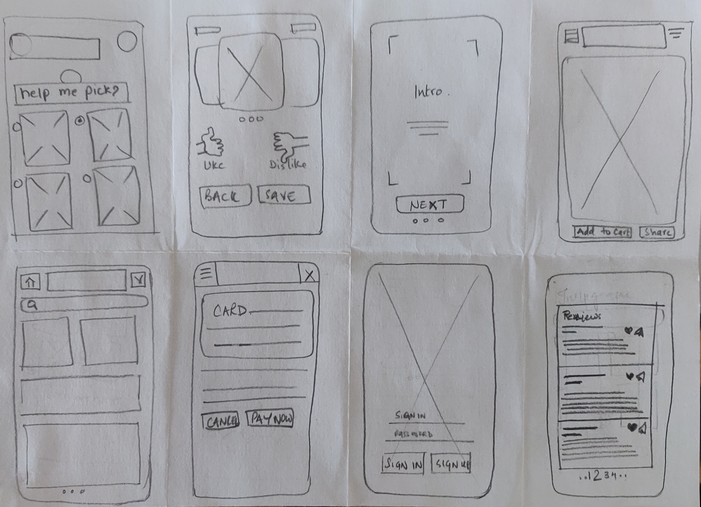 Paper Sketches on Paper using Crazy 8 Method