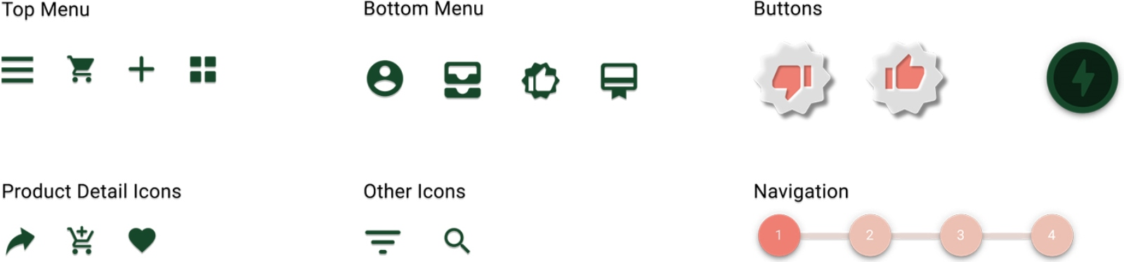 Top Bar, Product Detail Icons & Navigation Buttons