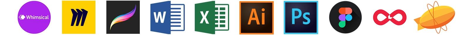Tools: Whimsical, Miro, Procreate, Microsoft Word, Microsoft Excel, Adobe Illustrator, Adobe Photoshop, Figma, Lookback, Zeplin