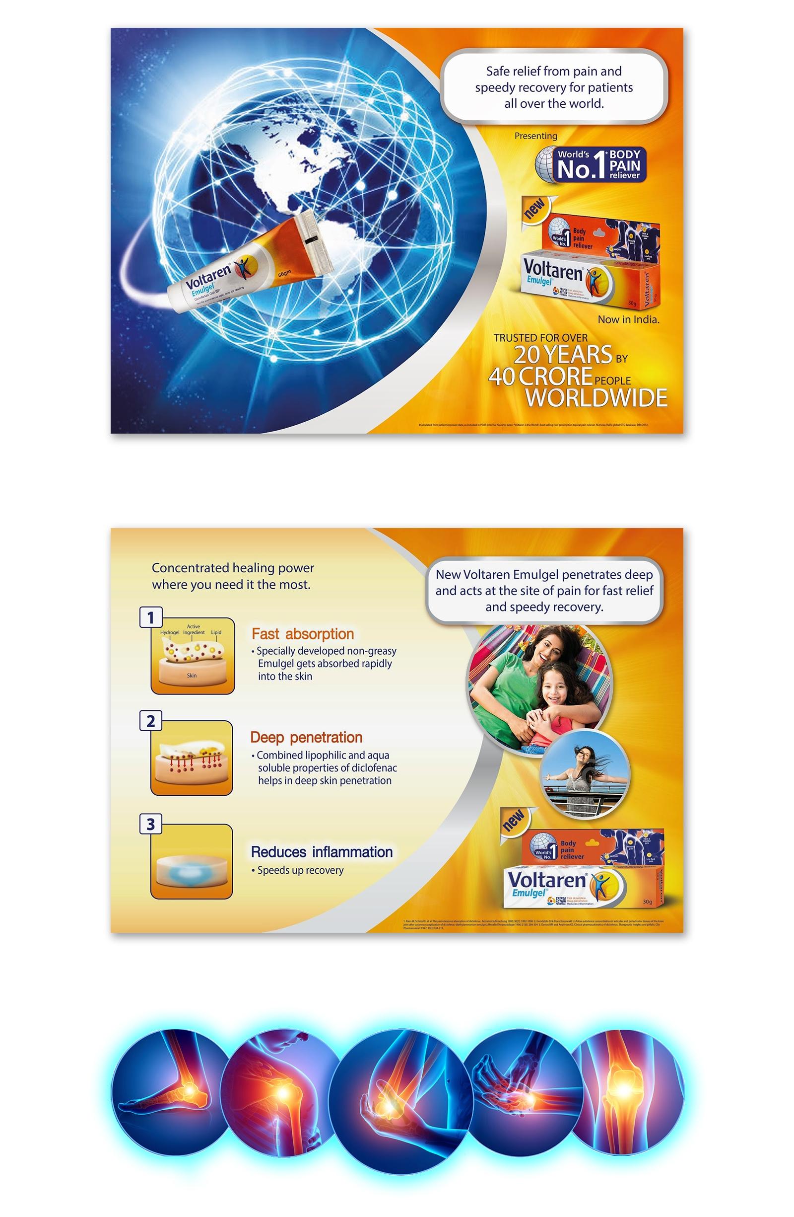 Novartis, Voltaren Emulgel Graphic Design for Package and Poster Product Design