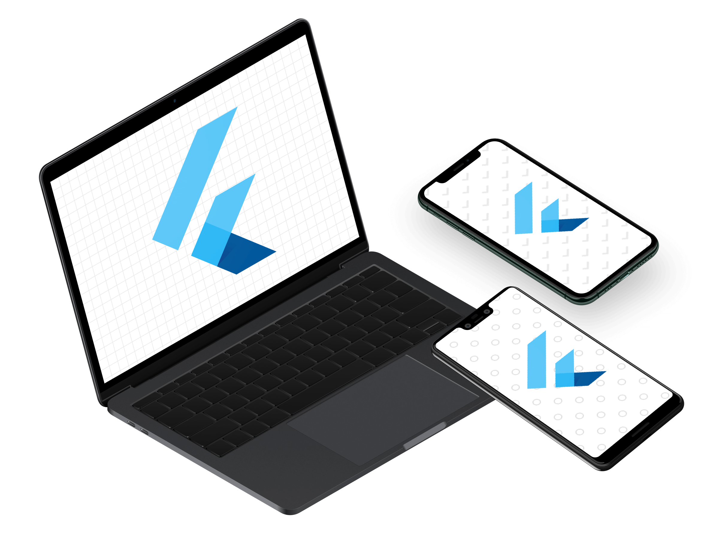 Laptop, iPhone, and Android phone with each screen displaying Flutter logo