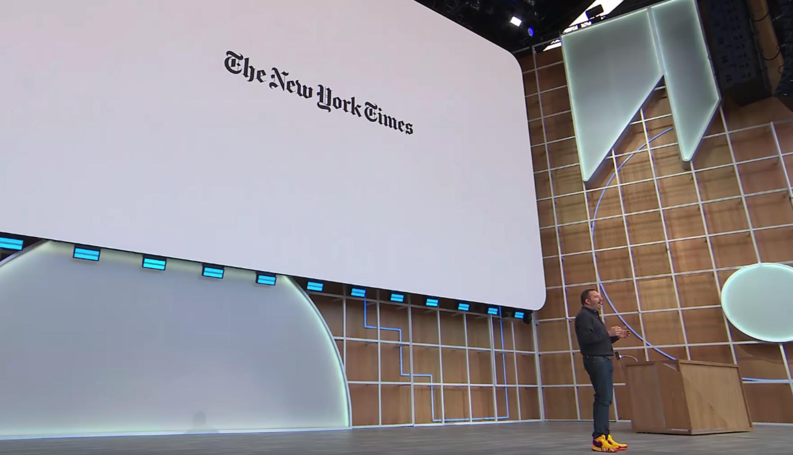Stage at Google I/O 2019 displaying New York Times logo
