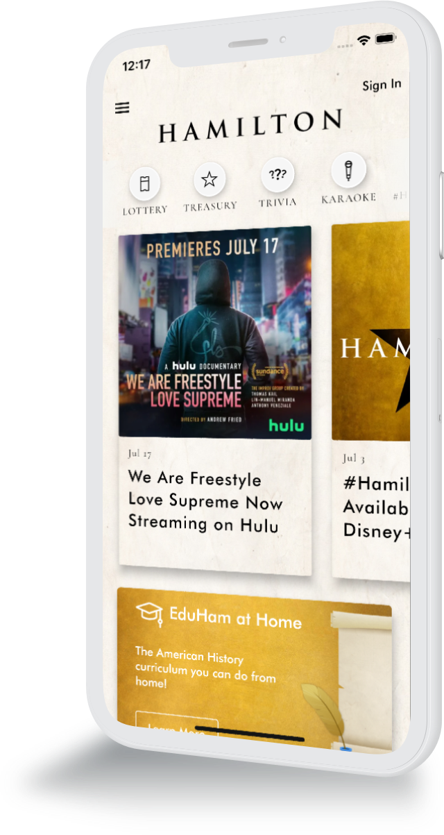 Mobile phone with Hamilton home screen