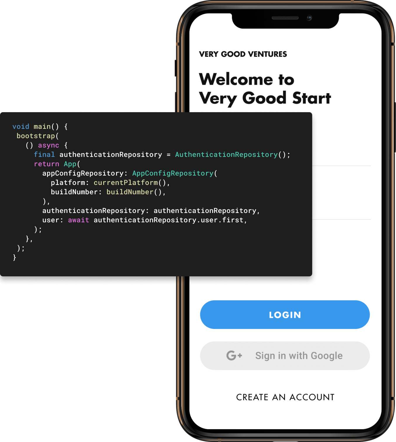 Screen with Very Good Start login and code snippet