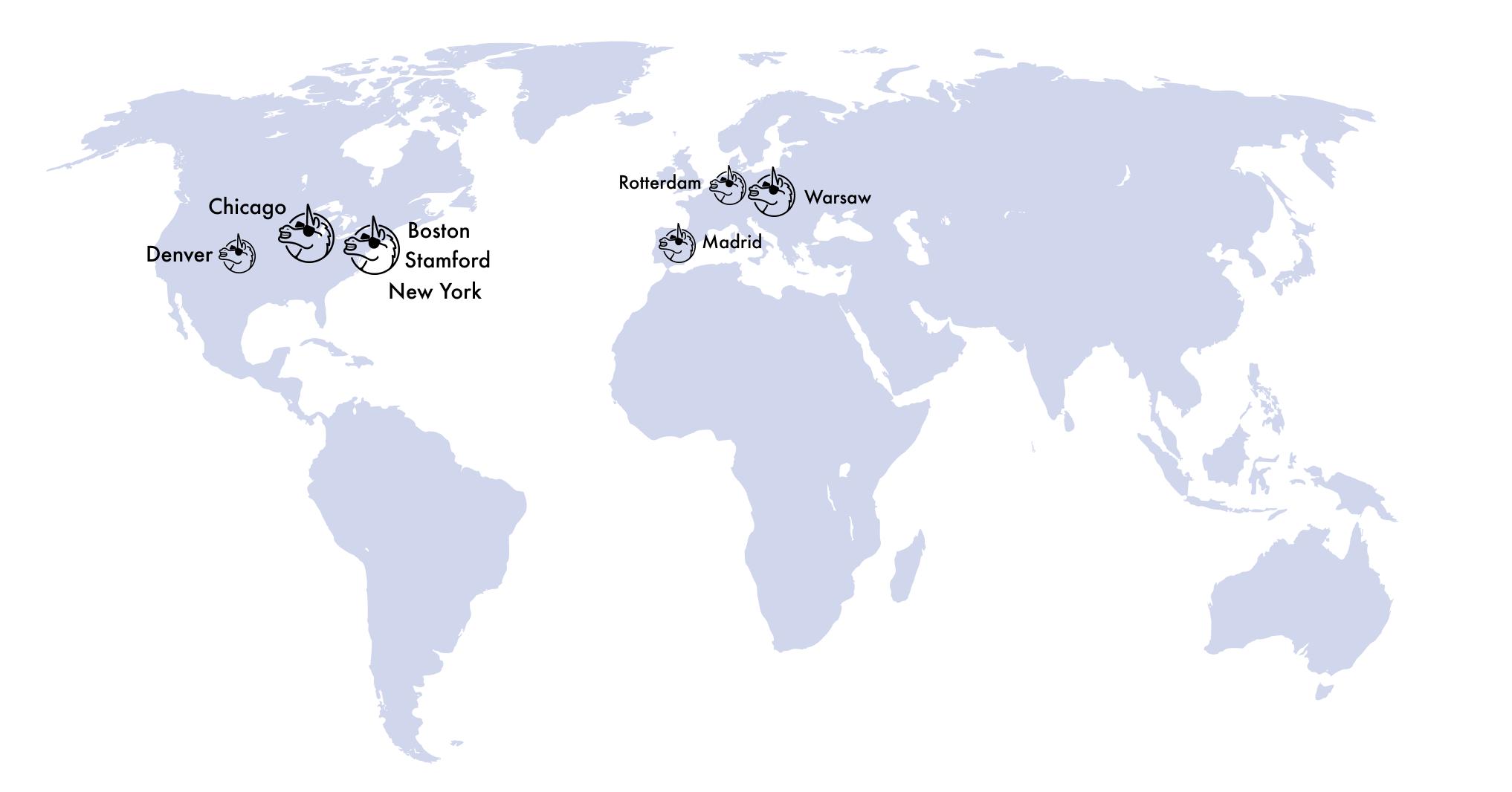 map of VGV team cities: New York, Chicago, Stamford, Boston, Denver, Warsaw, Rotterdam, and Madrid