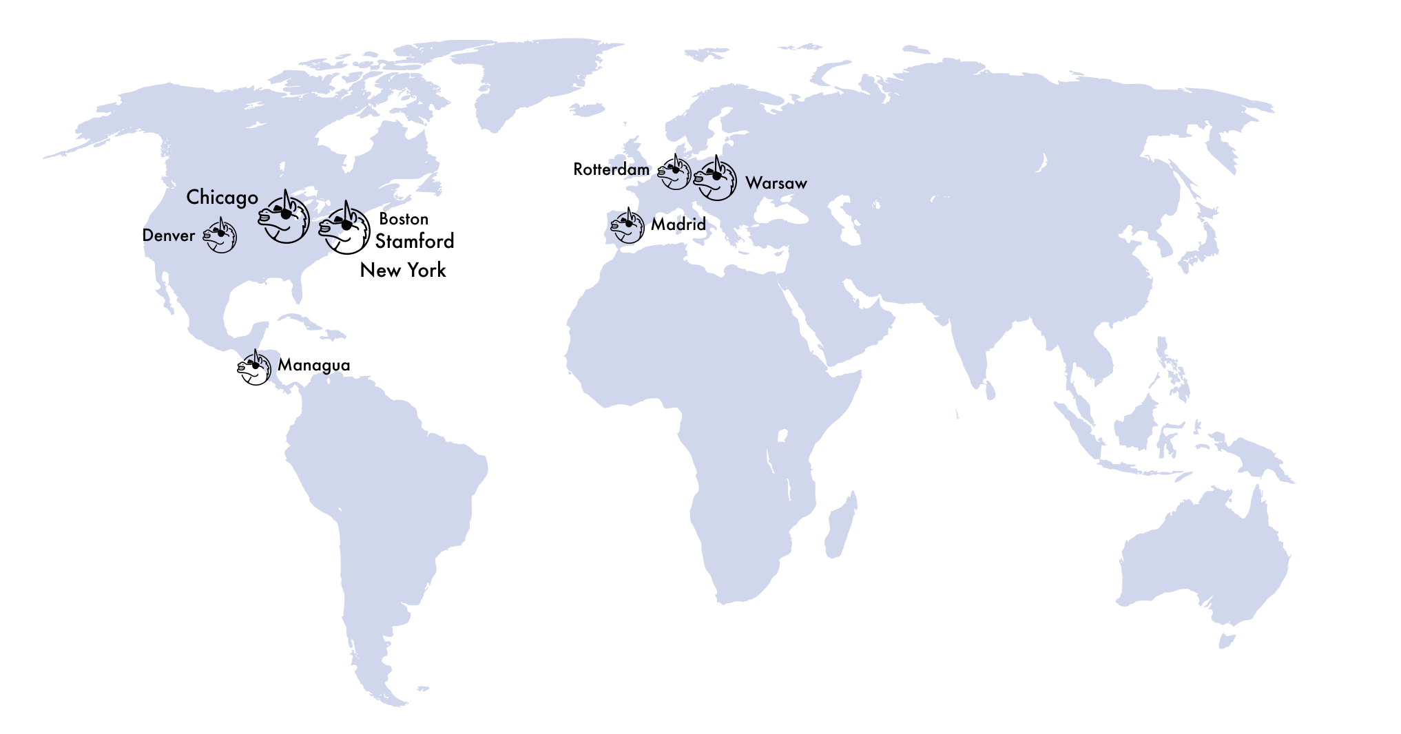 Map with VGV locations around the world: New York, Chicago, Stamford, and more
