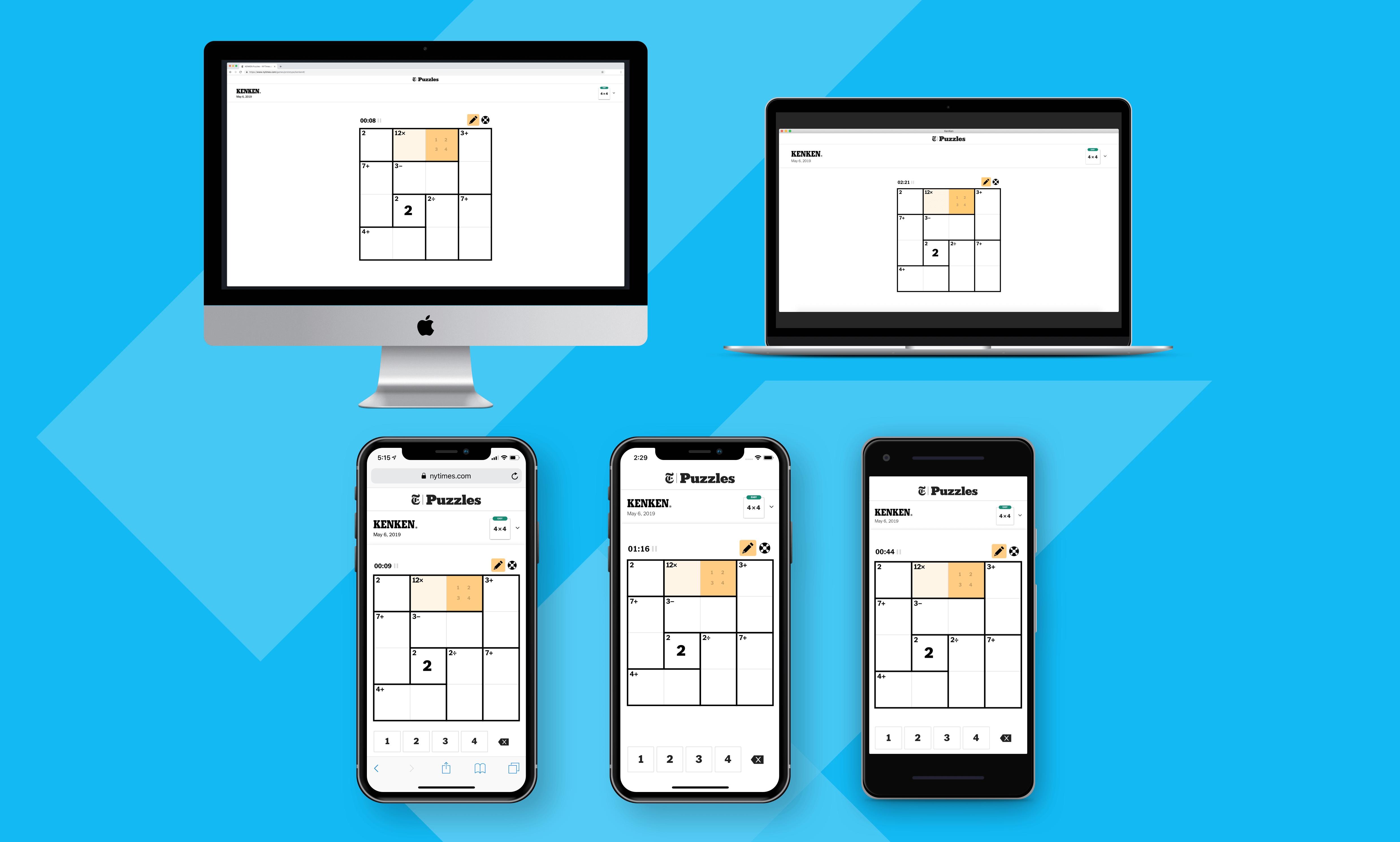 Modern multi-platform KENKEN game for The New York Times