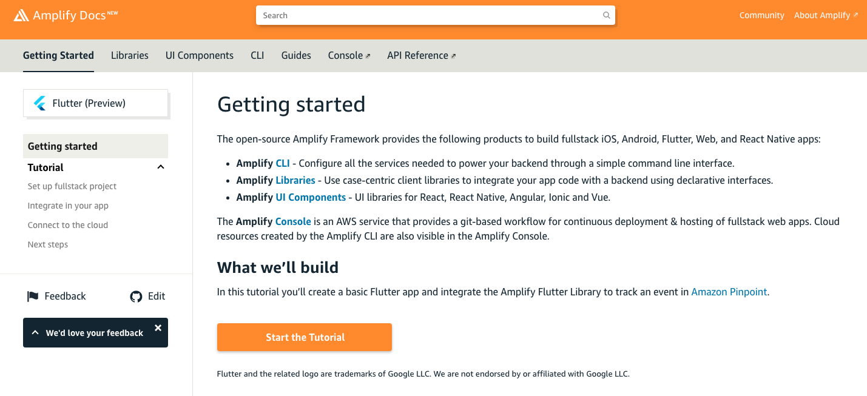 Screenshot of Amplify Flutter documentation