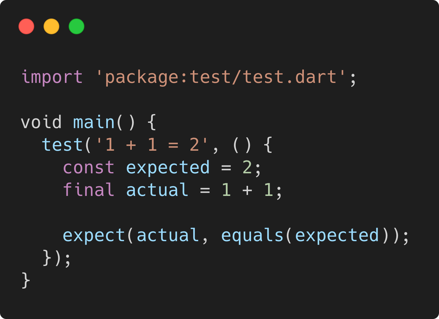 A simple test in Dart that validates implementation of 1+1 with expected answer 2