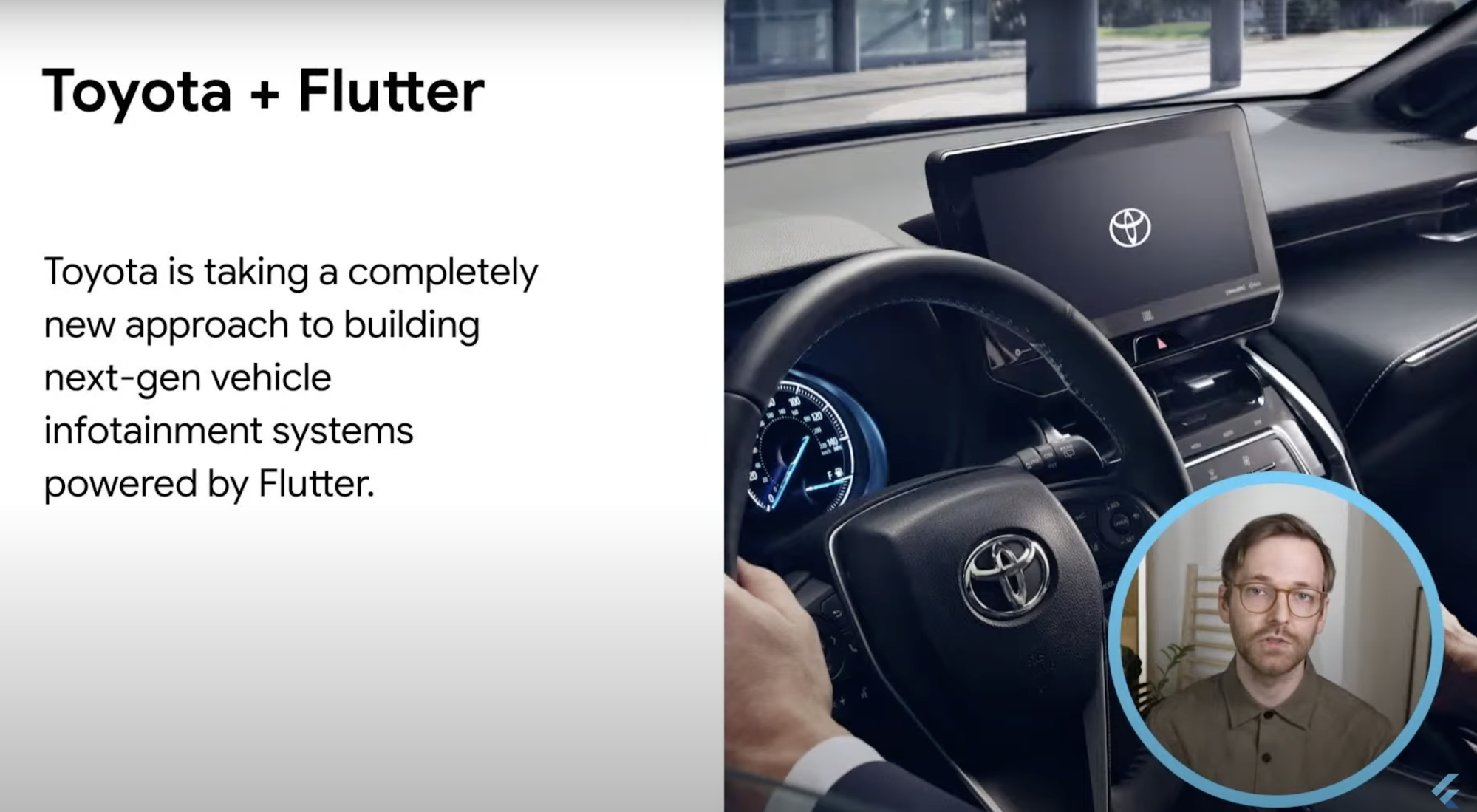 Screenshot from keynote about Toyota's use of Flutter