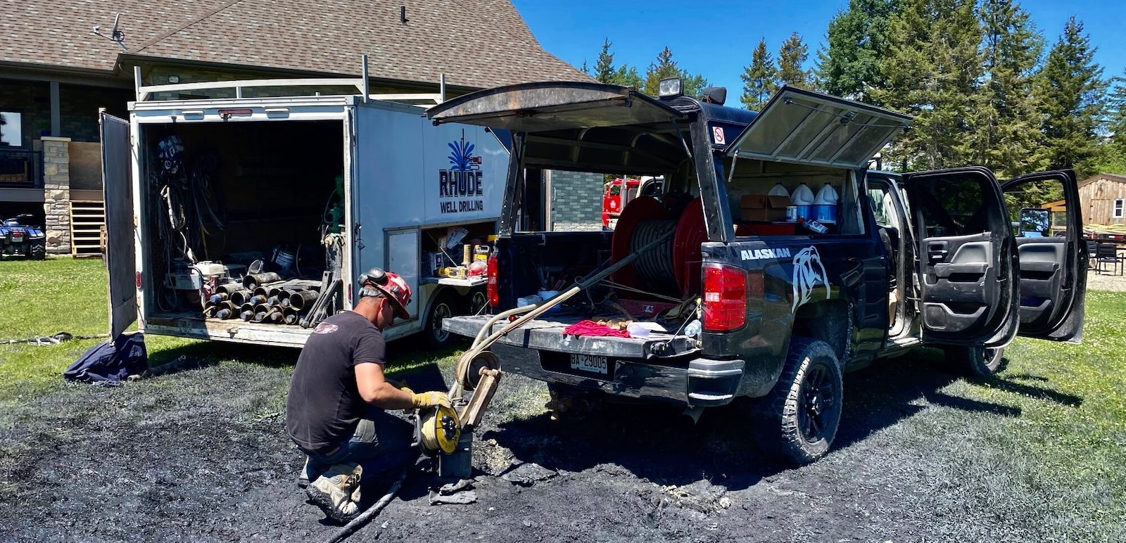 A well technician setting up to hydrofracture a well.