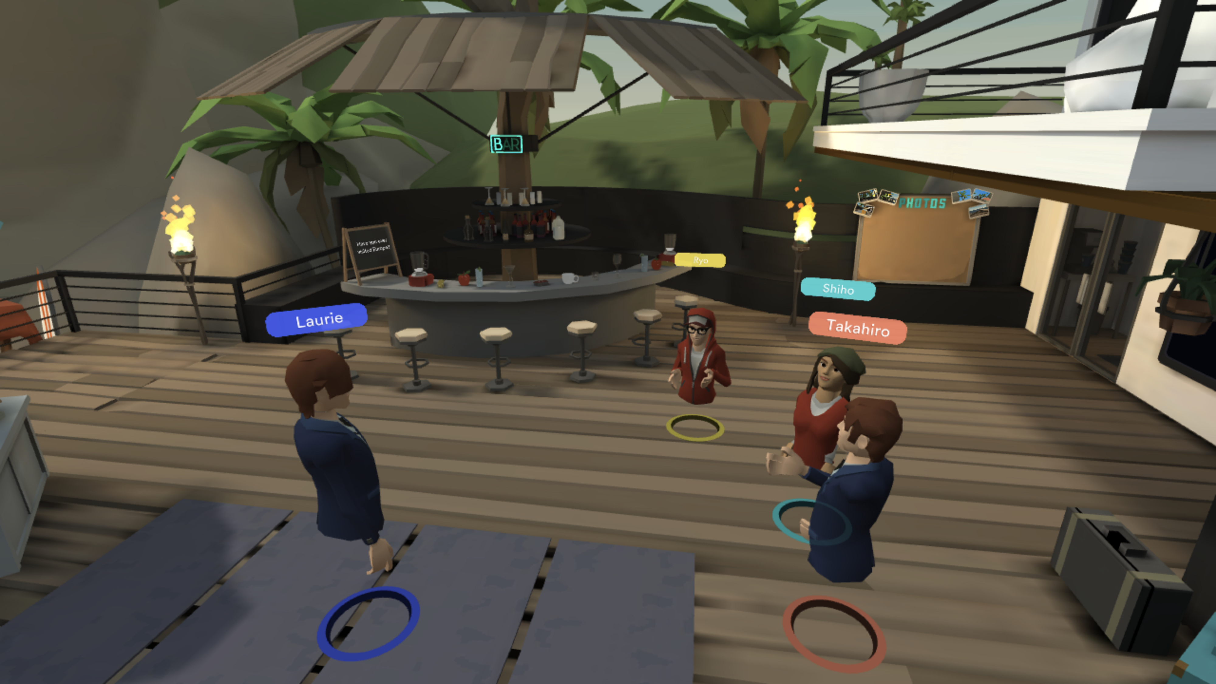 A virtual reality lesson set at a beach resort with students in front of a teacher
