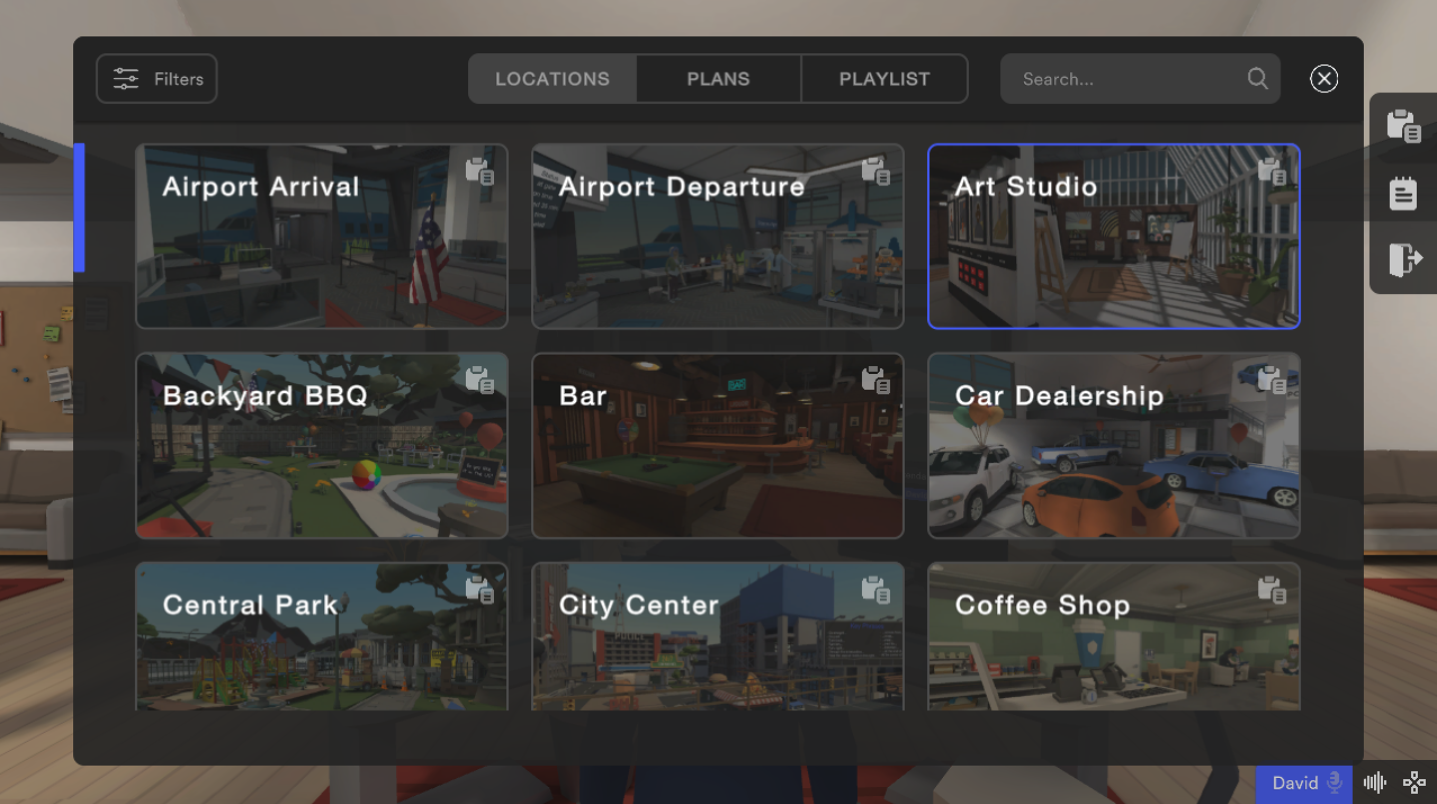 Virtual reality teaching software interface showing different locations