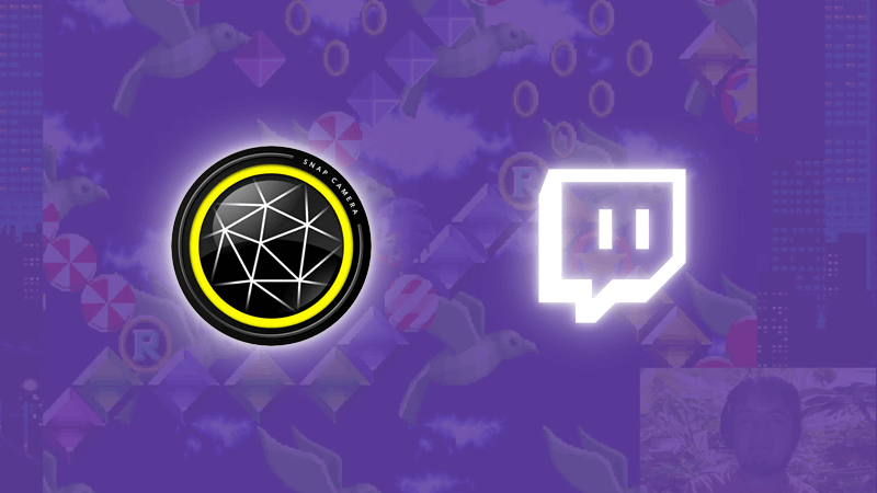 Snap Camera platform icon and Twitch platform icon on a graphic purple background
