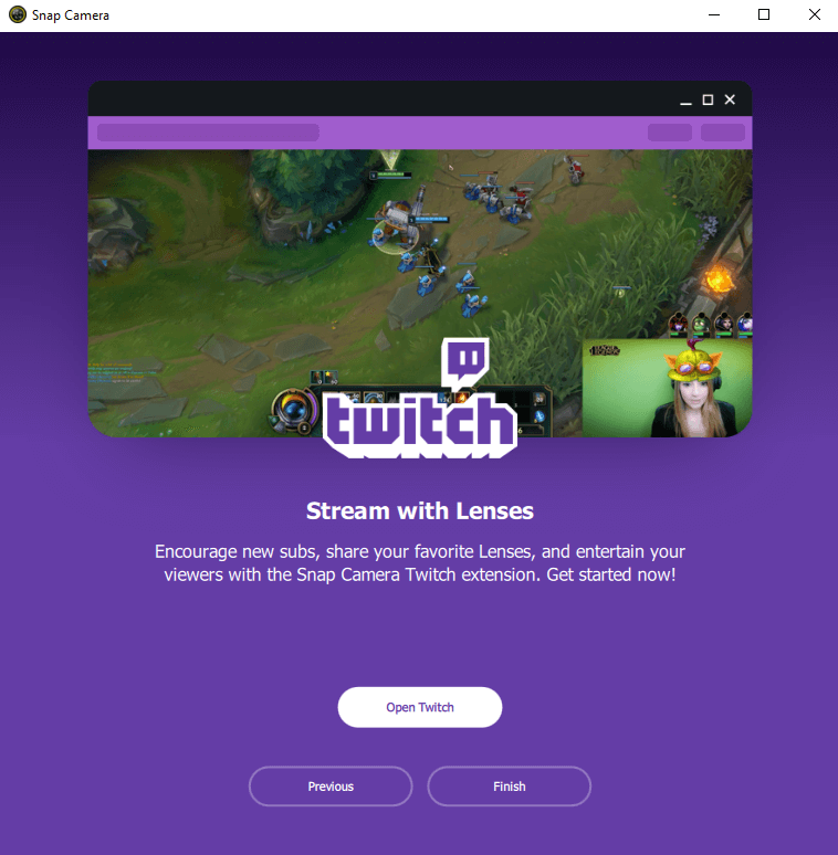 Snap Camera Twitch extension landing page featuring a gamer streaming with a lens
