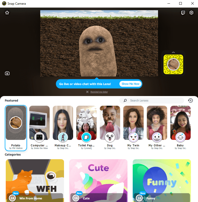 Snapchat Community Lens Library with an embedded video window showing a potato head Snapchat lens livestream on desktop