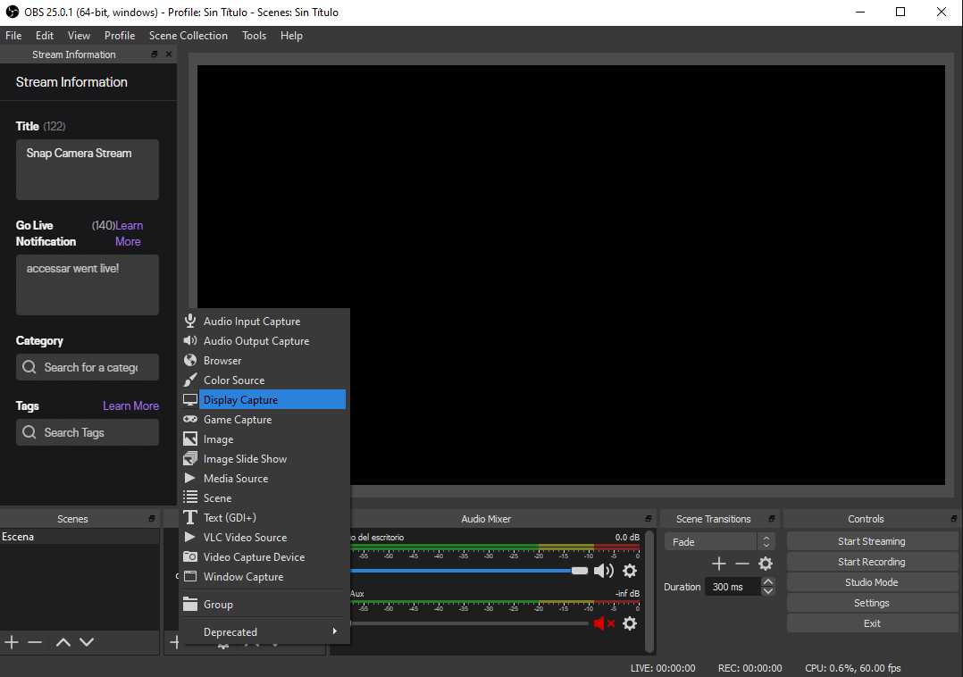 Pop up menu with Display Capture setting in the OBS control panel while logged into Twitch