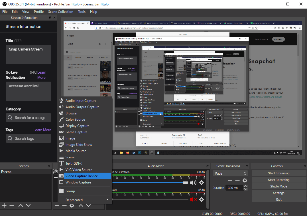 View of Snap Camera setting in the OBS control panel while logged into Twitch
