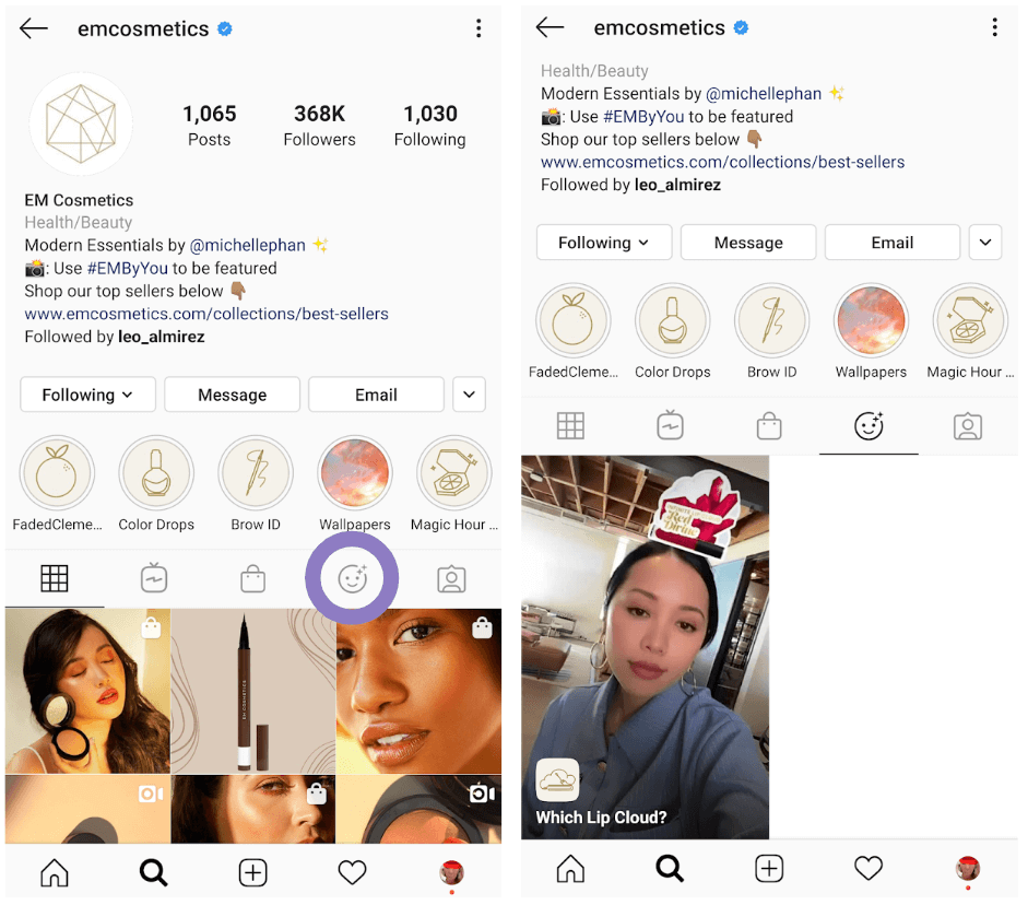 View of EM Cosmetic's Instagram feed and filter tab