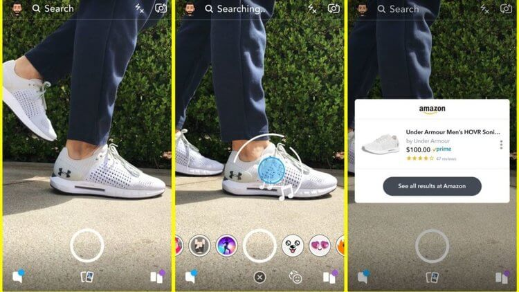 Three images showing an Under Armour Shoppable Snapchat Lens experience