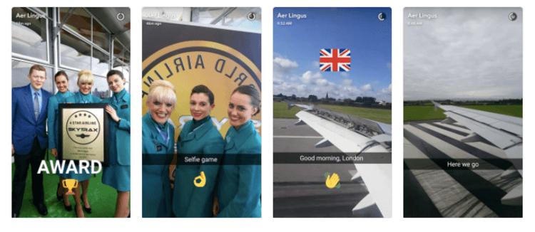 Screenshots of the Snapchat Aer Lingus campaign