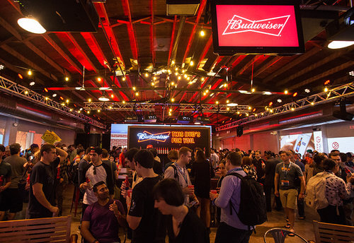 A crowd hangs out at the Budweiser SXSW Garage pop-up event