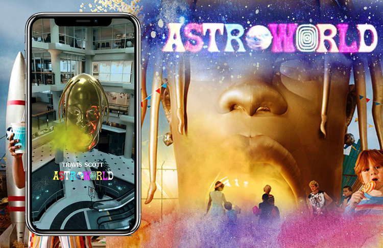 The Travis Scott Astroworld Album cover with a mobile phone frame overlaid showcasing the Astroworld Snapchat lens