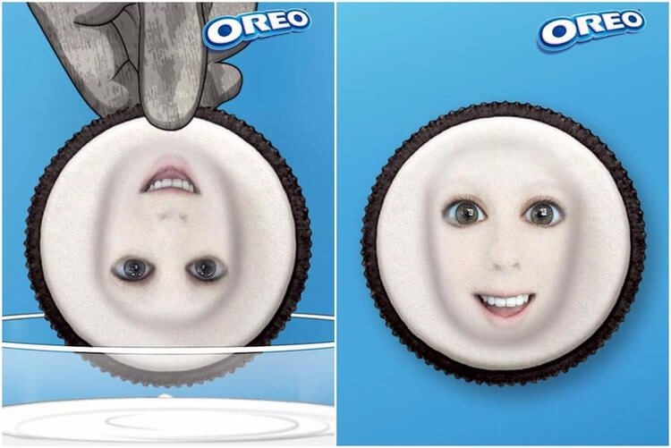 A user's face is shown in the middle of an Oreo cookie Snapchat lens
