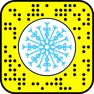A black and yellow Snapcode with a snowflake icon in the center