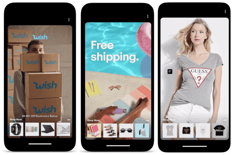 Mobile phones with images from Snapchat Shoppable AR lens campaigns