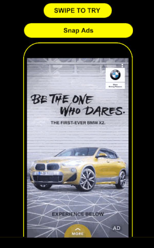 The BMW Snap Ad to Lens Campaign featuring a yellow BMW and a Swipe Up Link