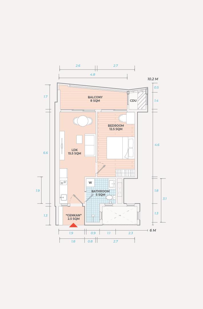 Rose Apple Square Siem Reap Residences 1 Bedroom