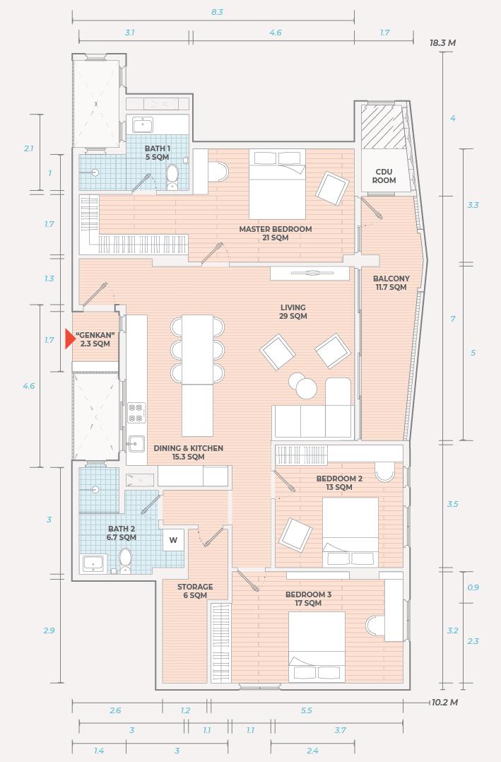 Rose Apple Square Siem Reap 3 Bedroom Residences Layout