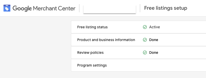 The Free listings setup view in Merchant Center