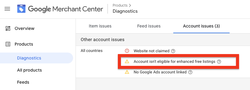 Account-level errors relevant to free listings view in the Merchant Centeri