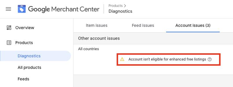 The account-level enhanced listings eligibility error in Merchant Center