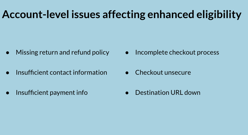 Common account-level issues affecting enhanced eligibility