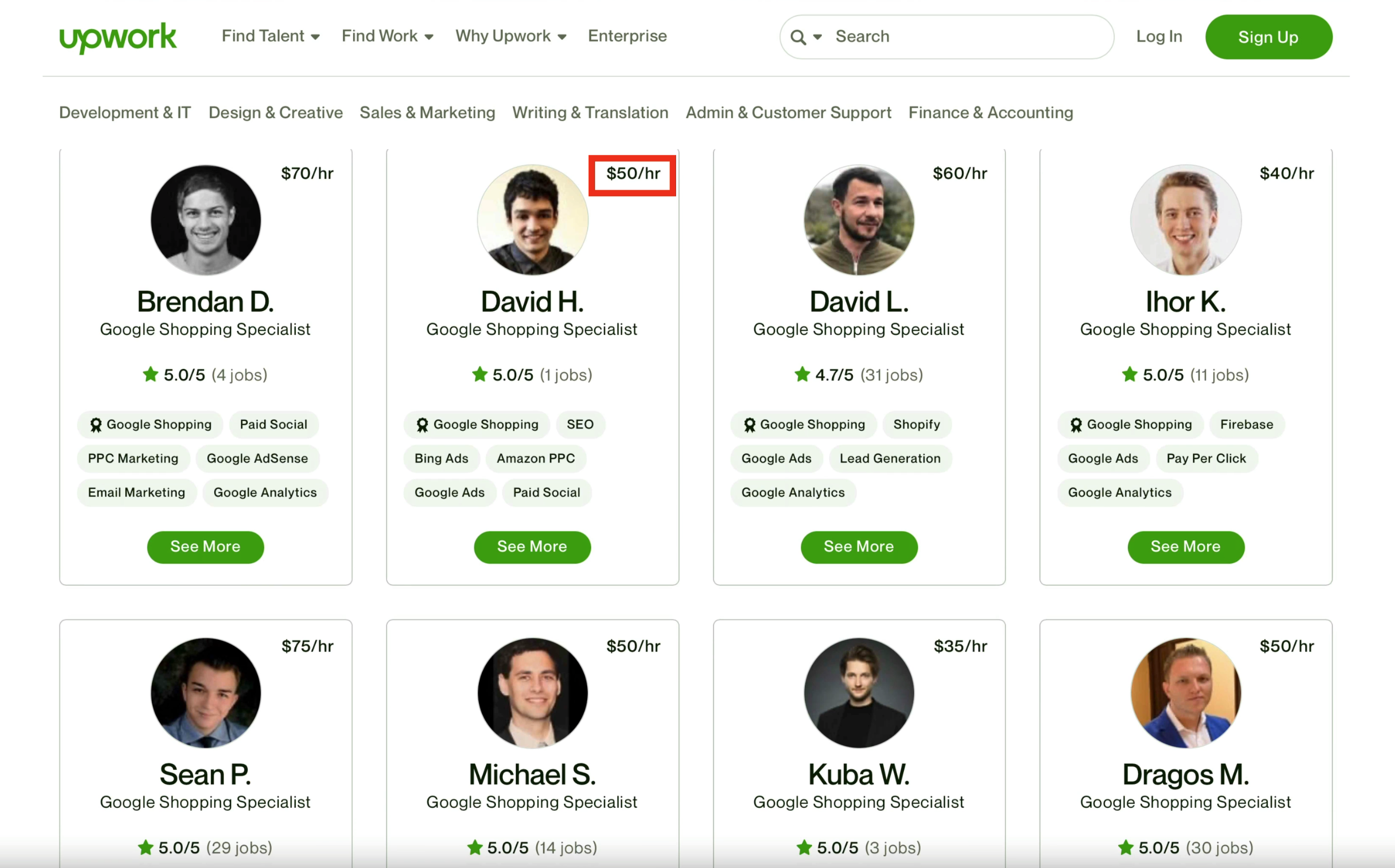 Google shopping specialists on Upwork