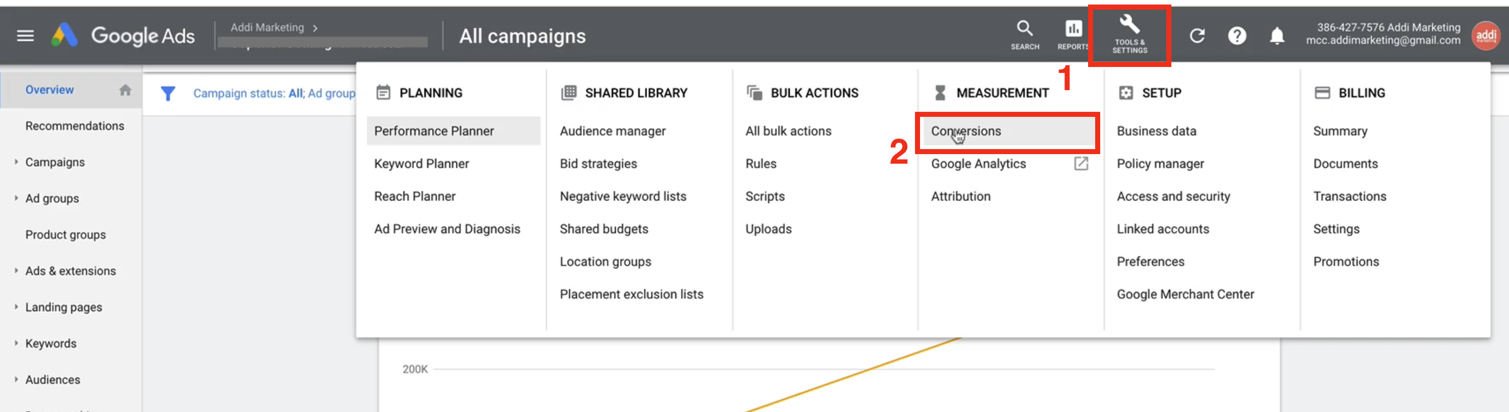 First seps to create a Google Ads conversion