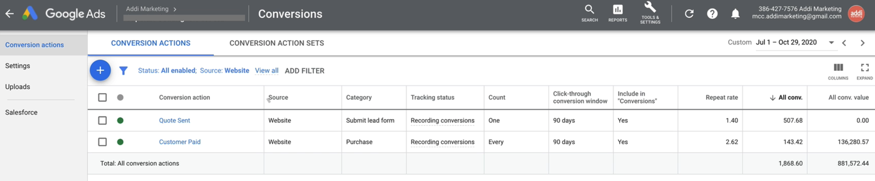 Conversion view in Google Ads