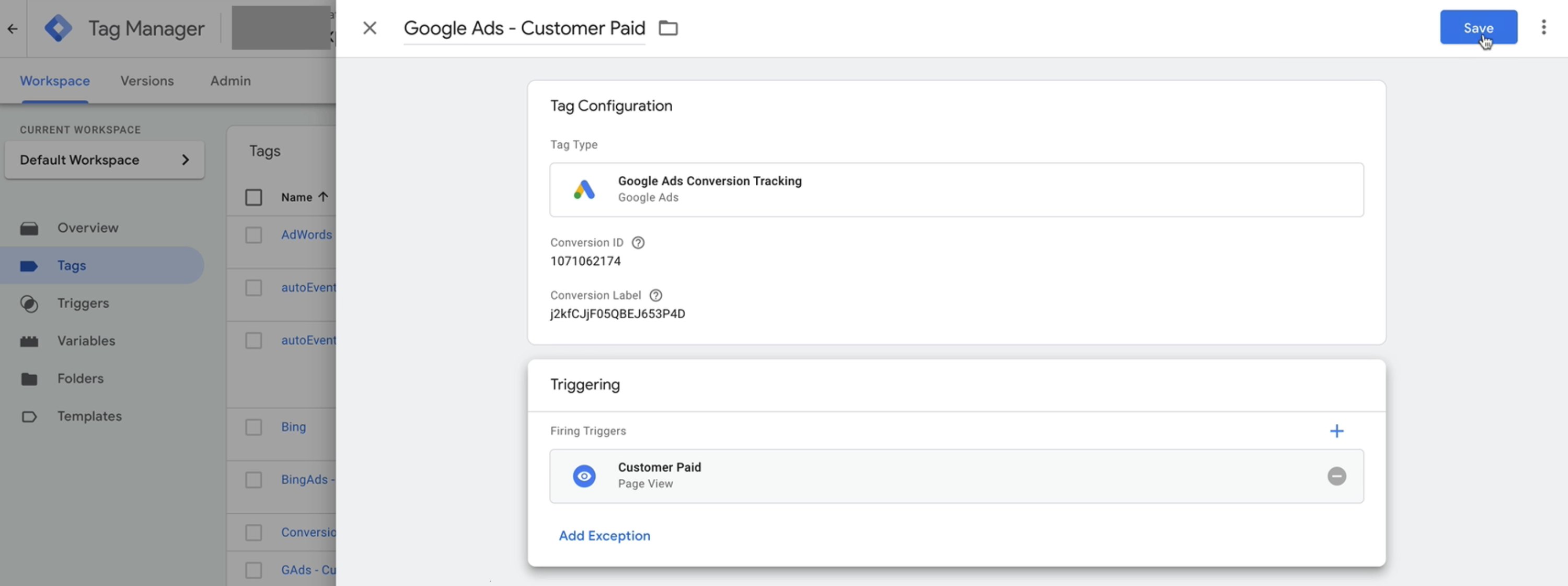 A new tag screen in Google Tag Manager