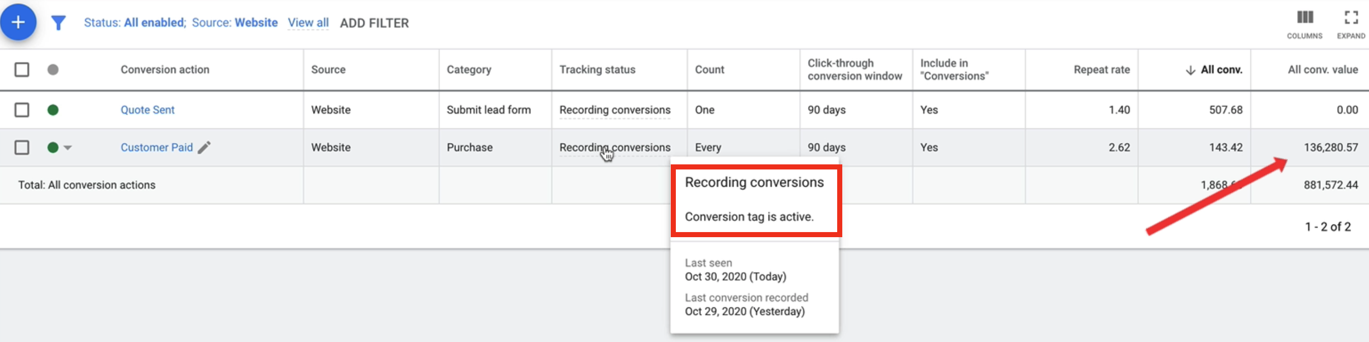 Viewing the conversion tag status and conversion value in the conversions view