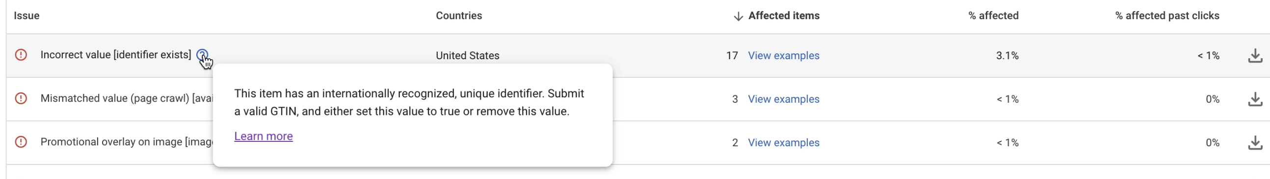 More info on the incorrect value [identifier exists] error